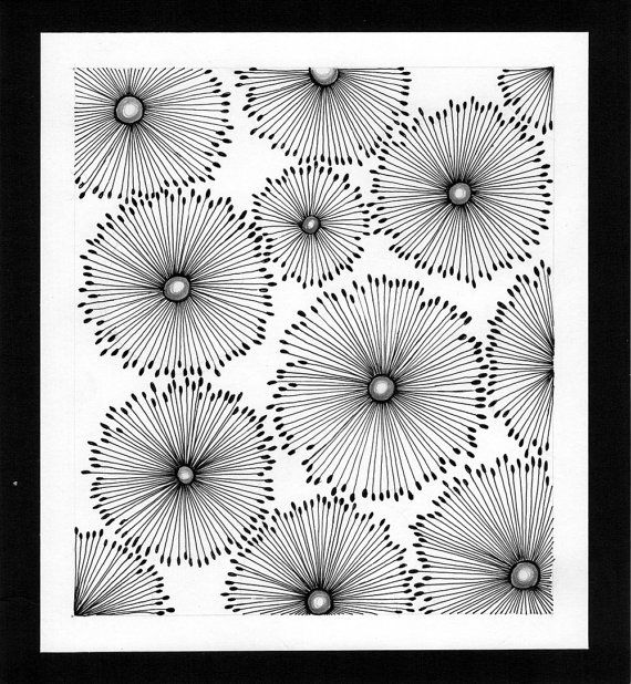 Circles of Life - original abstract dandelion ink drawing by Nanachoo - from etsy
