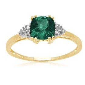 10k Yellow Gold May Birthstone Created Emerald and Diamond Ring, Size 6