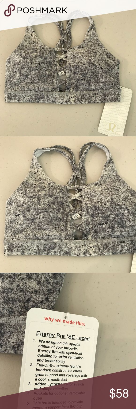 NWT ALPINE LULULEMON ENERGY BRA LACED SE - Size 4 Brand: Lululemon Athletica Energy bra white laced SE            Condition: New with tag || Size 4 || Antiqued alpine white multi     📌NO  TRADES  🛑NO LOWBALL OFFERS  ⛔️NO RUDE COMMENTS  🚷NO MODELING  ☀️Please don't discuss prices in the comment box. Make a reasonable offer and I'll either counter, accept or decline.   I will try to respond to all inquiries in a timely manner. Please check out the rest of my closet, I have various brands…