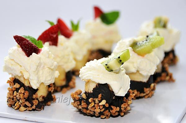 deser bananowy, strawberry, banana, dessert, mini dessert, chocolat, kiwi