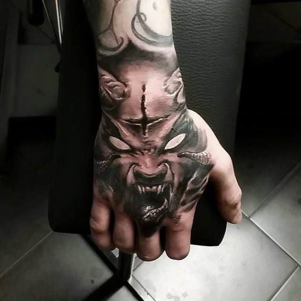 demon 3d hand tattoo tattoo tattooed tattoos hand tattoos pinterest tattoo tatting. Black Bedroom Furniture Sets. Home Design Ideas