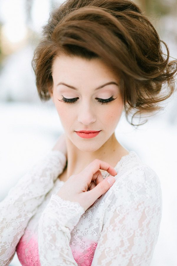 Magical Valentine's Love Shoot In The Snow | Bridal Musings, love the makeup