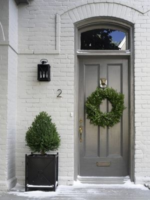 Gray door, entry