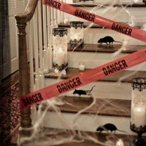 danger do not enter spooky halloween stairway decoration from getitcutcom - Adult Halloween Decorations