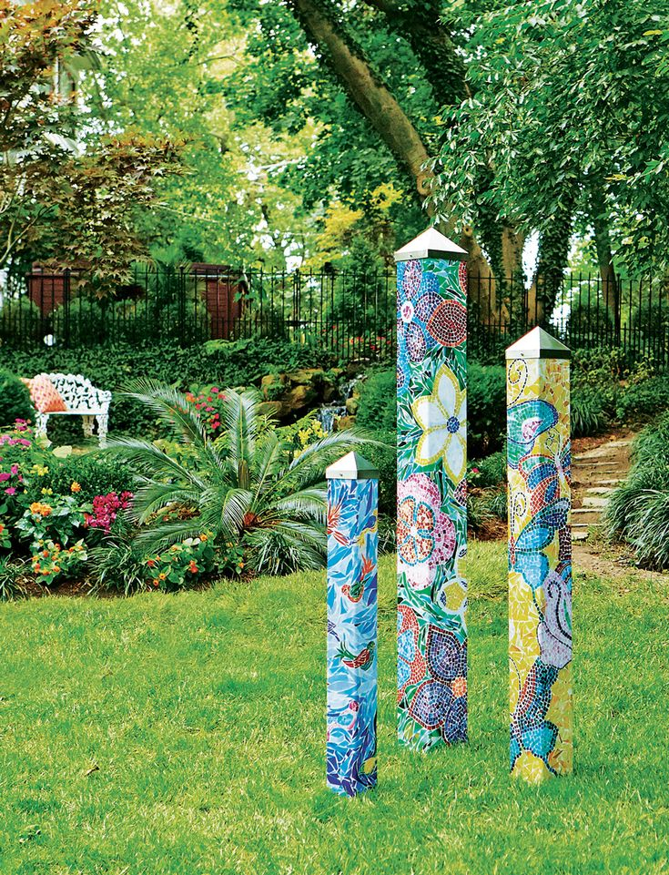 Art Pole Garden Collection - We gave artist Meredith Arns three blank poles to tell a story. This Art Pole Garden was the result.   Art Poles feature artwork laminated onto a lightweight PVC pole for fade-resistance, durability, & reduced shipping cost. Easy to install. Hardware included. Paten...