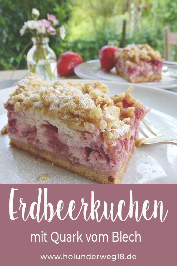 Erdbeerstreuselkuchen Mit Quark Blechkuchen Rezept Blogger