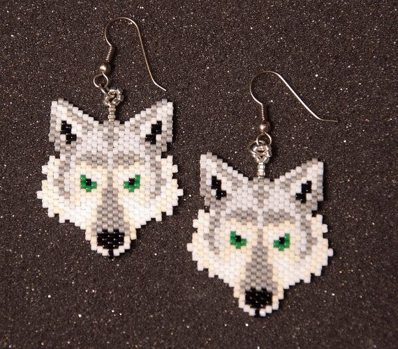 Wolf Head Earrings by HandMadeBeadedCrafts on Etsy