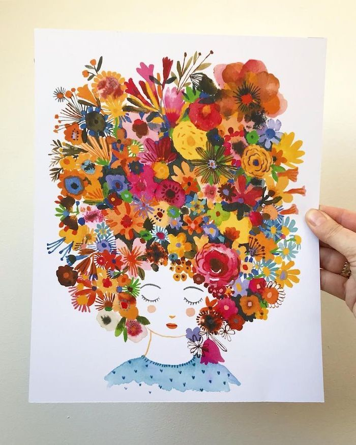 Girl With A Large Flower Crown Colored Painting Watercolor Rose Drawing Easy White Background Flower Drawing Flower Drawing Tutorials Simple Flower Drawing