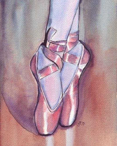 Watercolor Painting - Pink Ballet Shoes Watercolor Art Print, 5x7. $12,00, via Etsy.