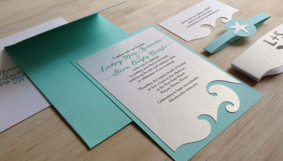 Beach Wedding Invitation Destination Wedding Invitation