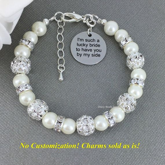 I'm such a lucky bride to have you by my side, Maid of Honor Gift, Bridesmaid Gift, Ivory Pearl Bracelet, Pearl Jewelry