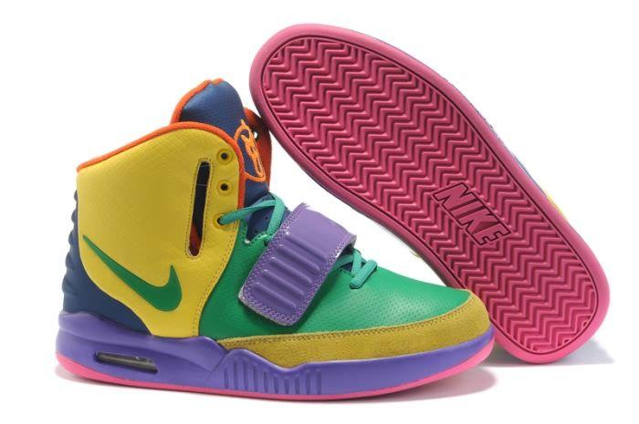 Nike Air Yeezy 2 Men's Shoes(4146) in Yellow/Green/Purple XY - Nike Air Yeezy men high