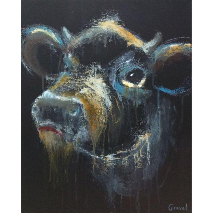 animal vache gravel artiste peintre animalier québecois