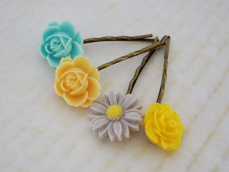 Flower bobby pins yellow lilac turquoise by TwinkleShineKnits