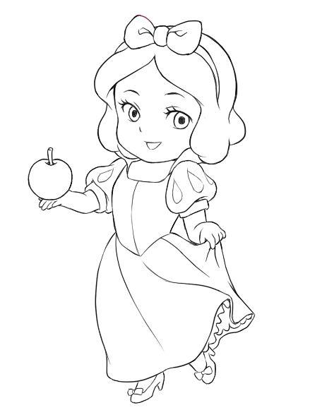Chibi Snow White Chibi Snow White Lines Chibi Snow Disney Princess Chibi Coloring Pages