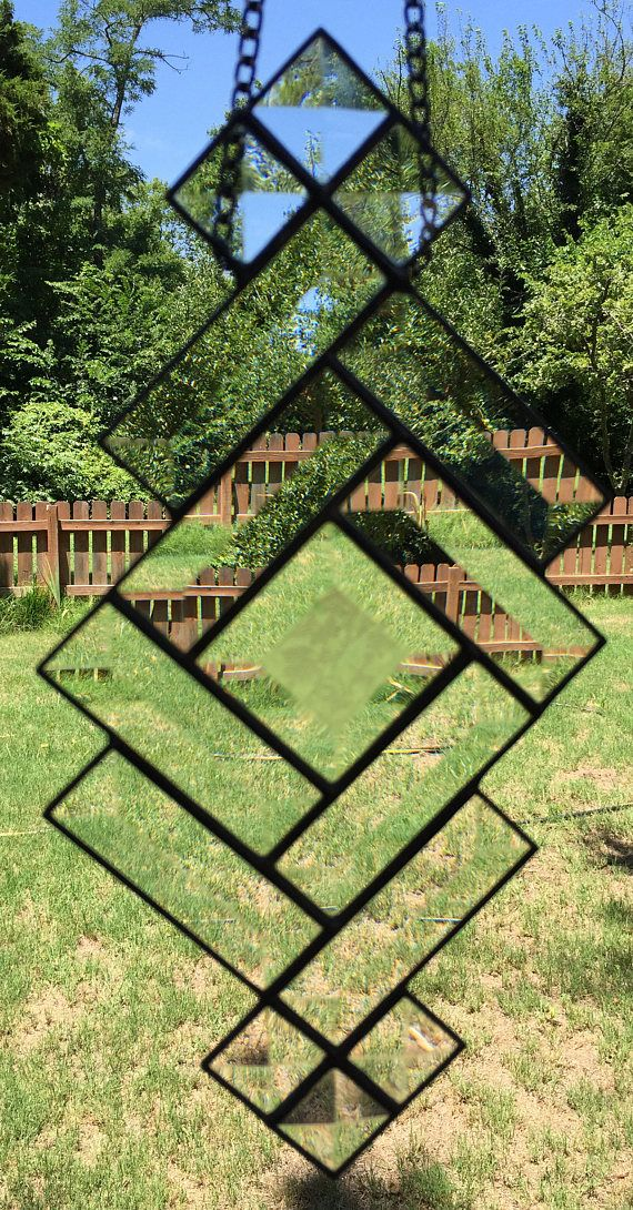 Contemporary Stained Glass Panel Suncatcher - Contemporary Geometric Bevels (PLG101) by PeaceLuvGlass
