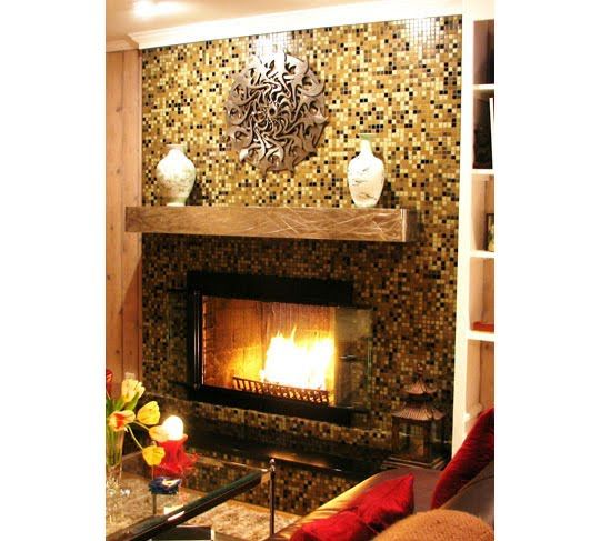 Glass Mosaic Tile Fireplace Surround