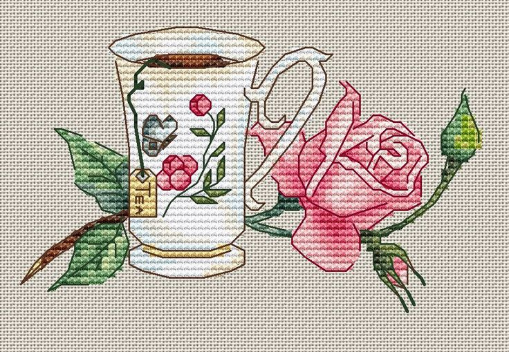 Cup of Tea with Rose Flower 2