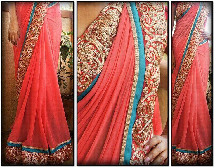 Peech color saree