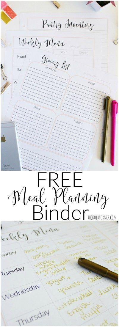 Printable Meal Planning Binder | The Kolb Corner