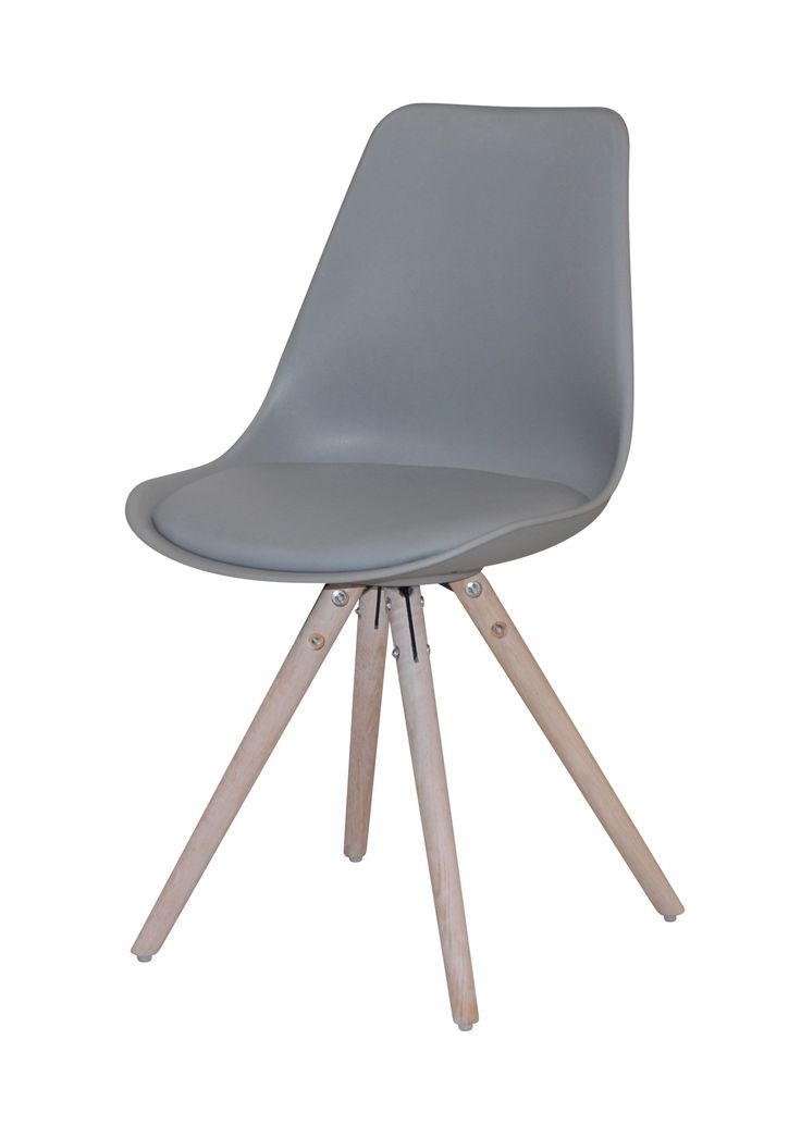 Woody Spisebordsstol - Flot skalstol med fantastisk siddekomfort og flot moderne design. Skallen er betrukket med gråt PU og har runde ben udført i hvidolieret egetræ, der giver den et rustikt udtryk. Anvend skalstolen som spisebordsstol og giv dit køkken et moderne look. Egner sig også som god skrivebordsstol eller som ekstra stol i værelset.