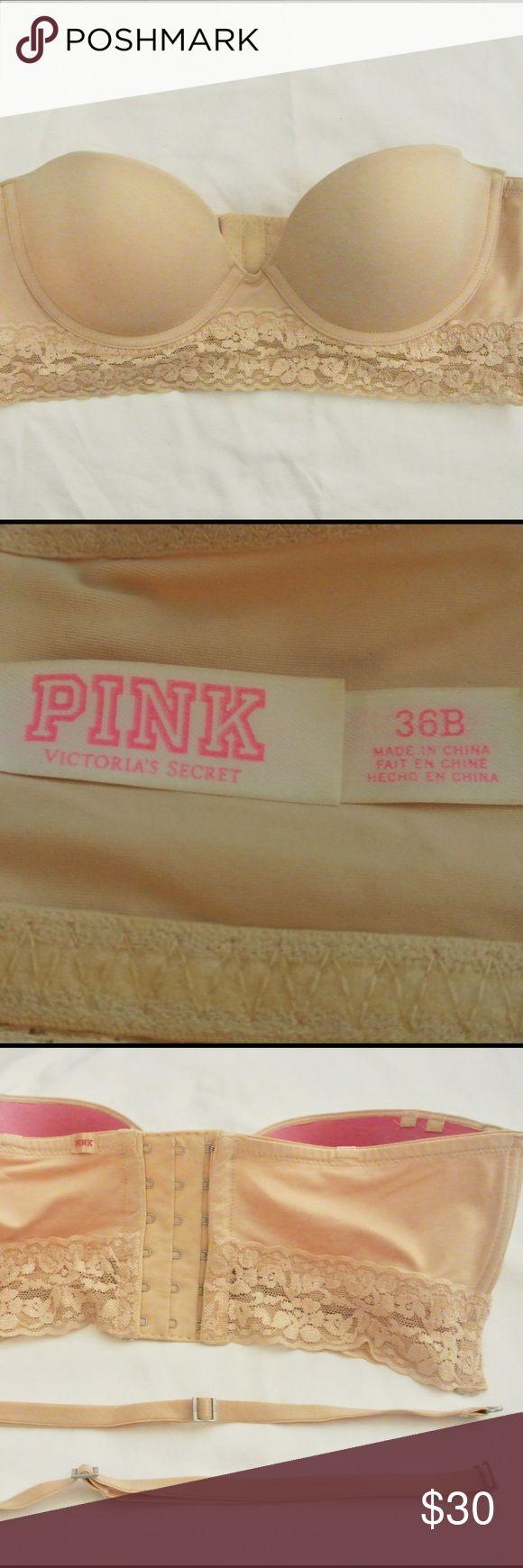 36B PINK Corset bra 36B PINK strapless corset bra with removable straps PINK Victoria's Secret Intimates & Sleepwear Bras