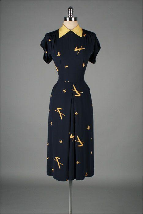 1940s Dress Silky Stars Vintage 40s Dress: 828 Best Vintage Fashion: 1940s Images On Pinterest