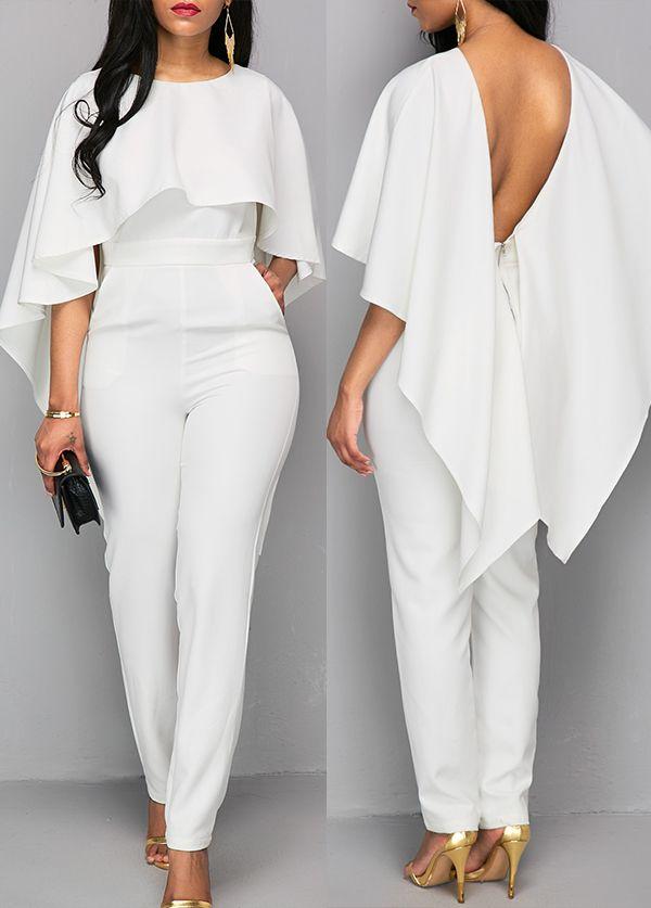 Zipper Closure V Back White Cloak Elegant Jumpsuit