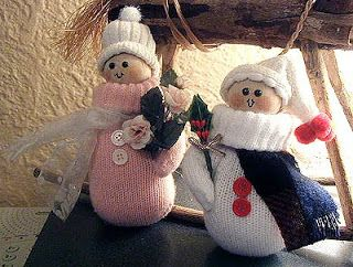 Snow People from Recycled Mittens - Crafts by Amanda (wow I can't believe it was 13 years ago that I made these! ~Amanda)