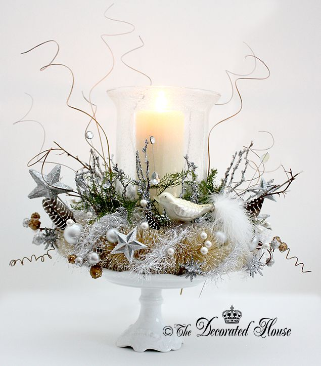 Mystic - Mythic Christmas Nest Centerpiece Silver & White by The Decorated House