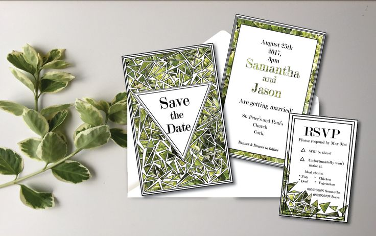 Modern greenery save the date and rsvp for the greenery and modern look  lovers #weddingstationery #savethedate