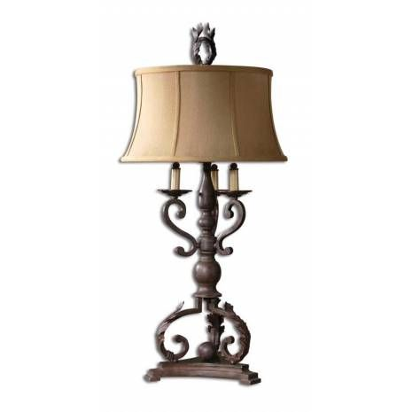 Uttermost Hope Bronze Armed Table Lamp  Uttermost Hope Bronze Table Lamp with Taupe Round Bell ShadeThis Table Lamp Is Finished In A Mahogany Bronze With Plated Bobeches. The Round Bell Shade Is A Taupe Linen Textile.