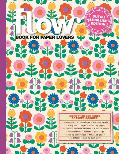 """Flow book for paper lovers!  """"We're celebrating five years of Flow Magazine with this thick paper package. Because we just love stationery, wrapping paper, stickers, labels and tags. Stationery, foldings envelopes, stickers, labels, postcards, posters, wrapping paper, coloring pictures, fortune tellers, a little streamer, a pop-up and much more!"""""""