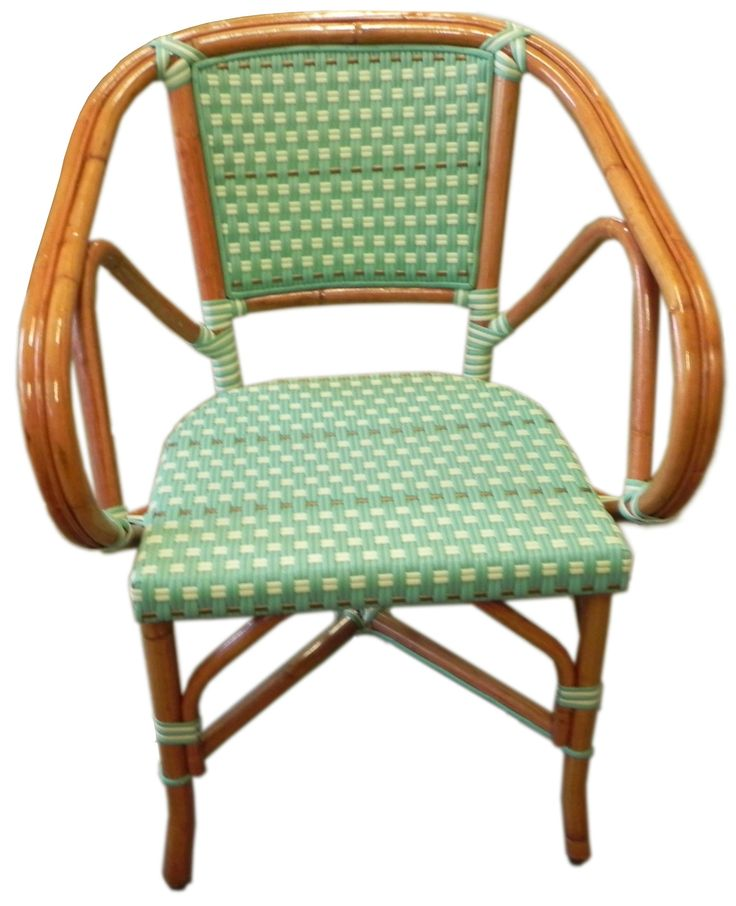 French Bistro Arm Chair Hk 112 Custom Weave Horizontal Colors Matte Bottle Green Ivory