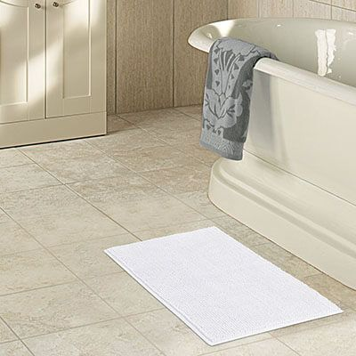 Lifewit Shaggy Chenille White Long Bath Mat