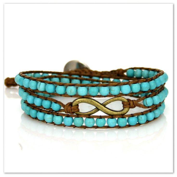 Infinity armband med turkosa pärlor via House of Dreams. Click on the image to see more!