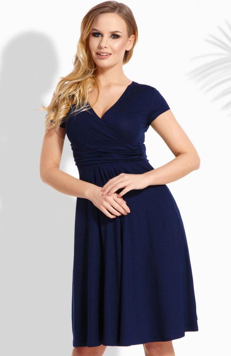 Envy Me EM111 sukienka  granatowa Komfortowa sukienka, rozkloszowany fason, dekolt kopertowy