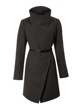 Kenneth Cole Twill belted wool coat Black - House of Fraser