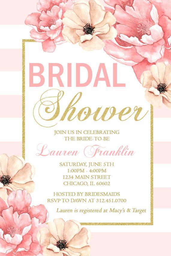 Peony flower bridal shower invitation blush pink gold for Flower bridal shower invitations