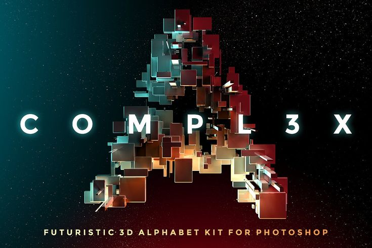 COMPL3X - Futuristic 3D Alphabet Kit by INSgraphizm on @creativemarket