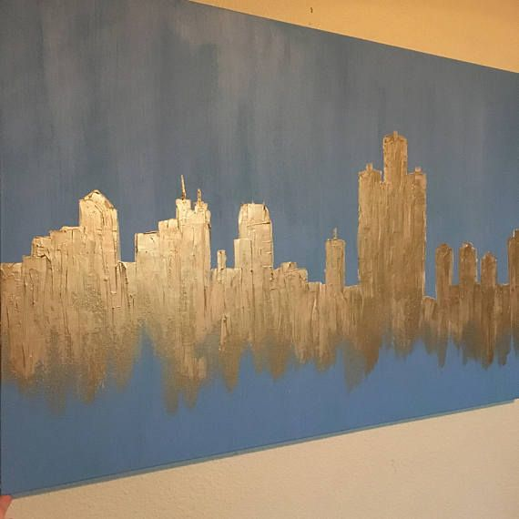 Gold Dallas Skyline Thin gallery-wrapped canvas made with gold acrylic paint, with an overlay of Golden Molding Paste for texture. Duplicates can be made, however please expect slight variances. Please message me with requests to for sizes, alternate colors, etc. **Other skylines