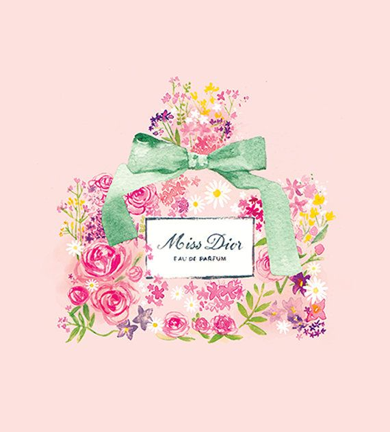 Miss Dior Perfume Floral watercolour by mbaileyillustrations