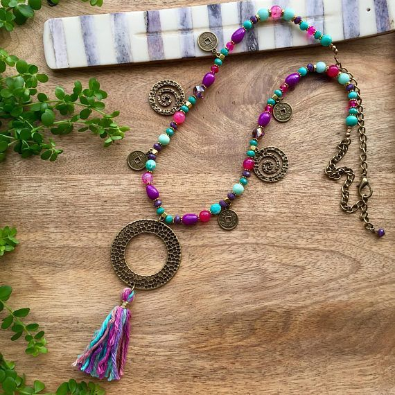 Colorful Tassel Necklace Boho Necklace Coin Necklace  Long Necklace Purple & Turquoise  Necklace Bohemian Necklace Coin Drop Necklace Boho Jewelry Gift for her #handmade #necklace #bohemian #bohojewelry #tassels