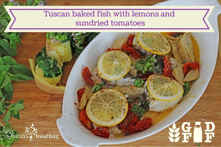 Tuscan baked fish with lemons and sundried tomatoes http://www.emmasfoodbag.co.nz/