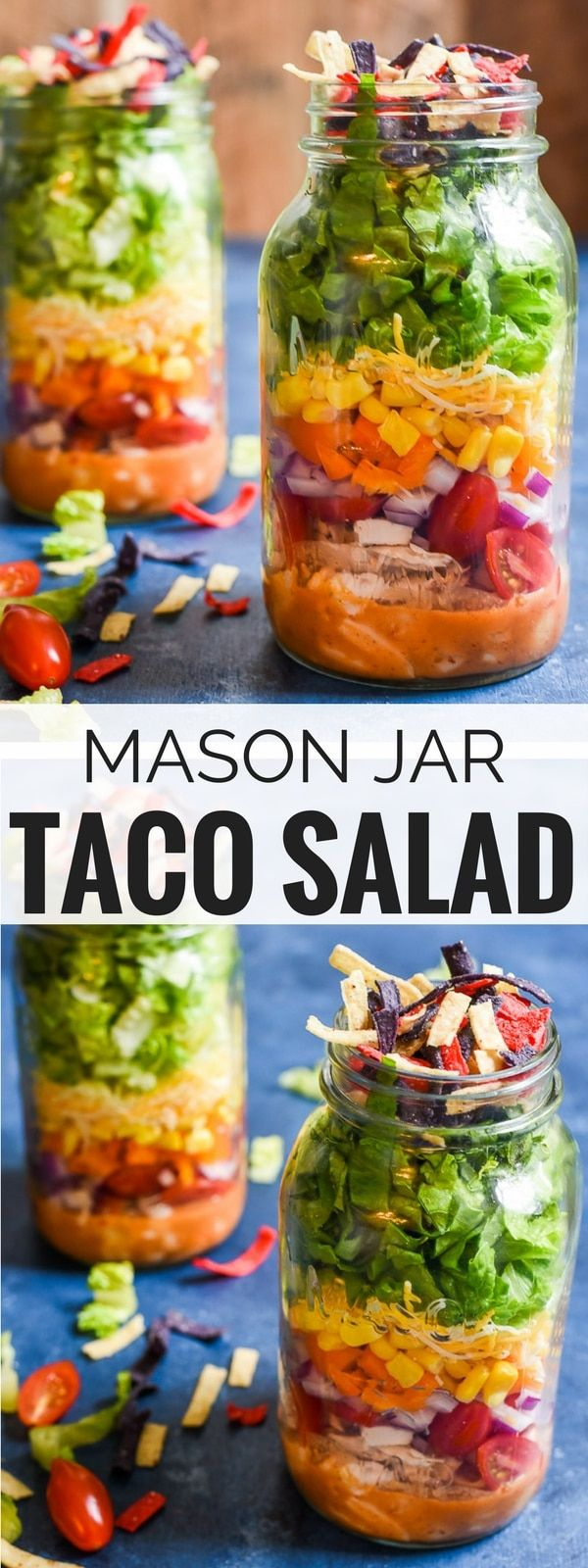 Mason Jar Taco Salads with a smoky chipotle honey vinaigrette is the perfect grab-and-go lunch!
