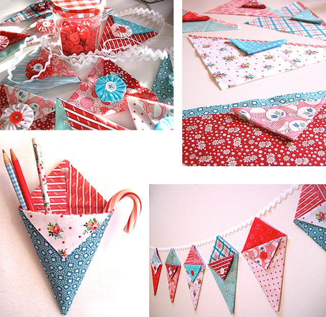 Pennie Pockets - Little pennant pockets of happiness by Happy Zombie, via Flickr, great for holidays!