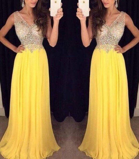 Yellow Beading Prom Dresses Long Formal Dress  SP1070