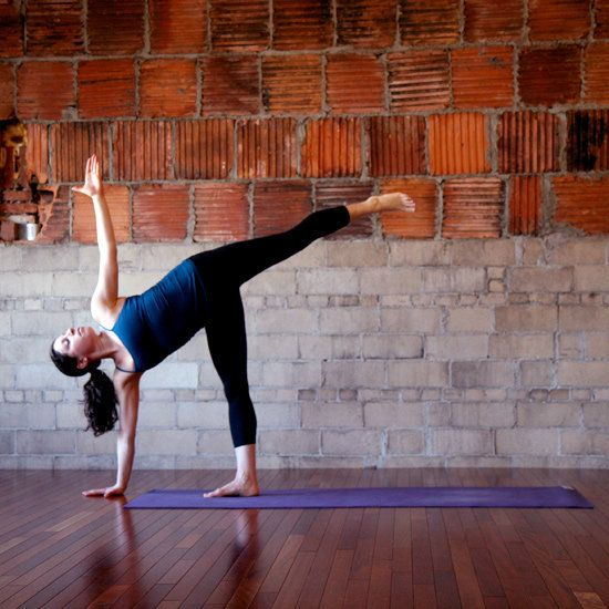Half Moon Pose: Floating into Half Moon Pose will charge up your core, give a big stretch to your spine, and help you find balance:From Warrior 1, open your hips, arms, and chest into Warrior