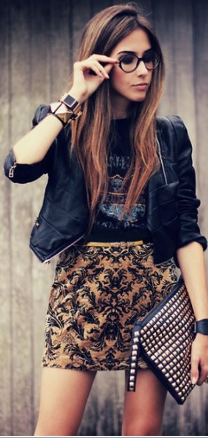 Streetstyle. Touch of punk and studs