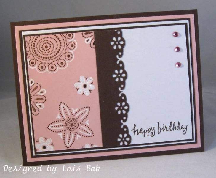 Polka Dot Punches IC223 Pink Paisley Print_lb by Clownmom - Cards and Paper Crafts at Splitcoaststampers: Cards Design, Cards Ideas, Cards Birthday, 0 Cards, Birthday Cards, Dots Punch, Cards Inspiration, Paper Crafts, Pink Paisley